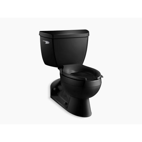 Black Black Two-piece Elongated 1.6 Gpf Toilet With Pressure Lite Flushing Technology and Left-hand Trip Lever