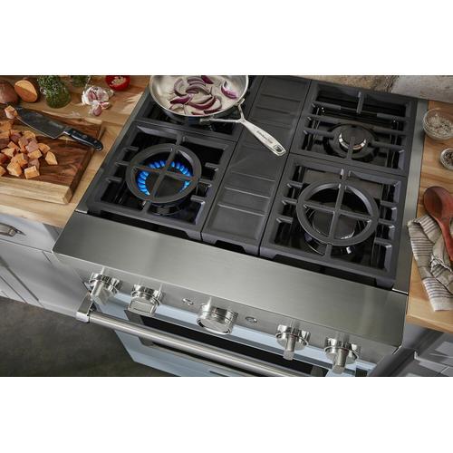 KitchenAid - KitchenAid® 30'' Smart Commercial-Style Dual Fuel Range with 4 Burners - Misty Blue