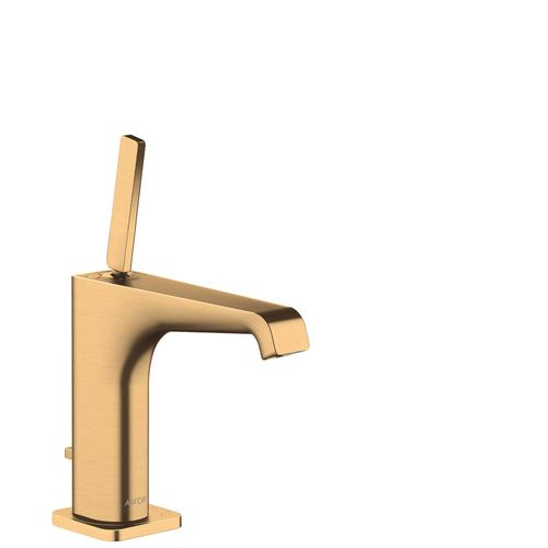 Brushed Brass Single lever basin mixer 130 with pin handle and pop-up waste set
