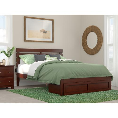 Atlantic Furniture - Oxford Queen Bed with Foot Drawer and USB Turbo Charger in Walnut
