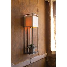 See Details - wall lamp with metal frame and canvas shade