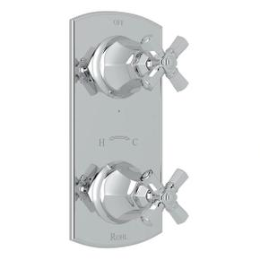 Palladian 1/2 Inch Thermostatic and Diverter Control Trim - Polished Chrome with Cross Handle