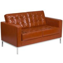 Contemporary Cognac Leather Loveseat with Stainless Steel Frame