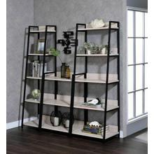 "ACME Wendral Bookshelf (5-Tier, 16""L) - 92673 - Industrial, Contemporary - Metal Tube, Paper Veneer (Laminate), MDF - Natural and Black"