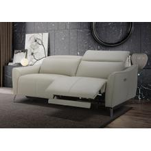 Divani Casa Prairie Modern Light Grey Leather Dual Electric Sofa Recliner with Electric Headrest