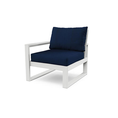 White & Navy EDGE Modular Left Arm Chair