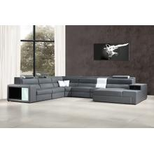 See Details - Divani Casa Polaris - Contemporary Grey Leather U Shaped Sectional Sofa with Lights