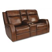 Mustang Power Reclining Loveseat with Console & Power Headrests
