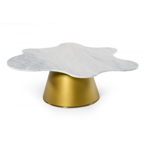VIG Furniture - Modrest Gabbro High - Glam White Marble and Gold Coffee Table