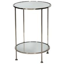 Setting the Standard for Side Table Style, Our Chico Two-tier Side Table Sits Pretty In Any Setting. A Timeless Classic, It Is Finished In Nickel With Mirror Top and Shelf. Simply Stunning!