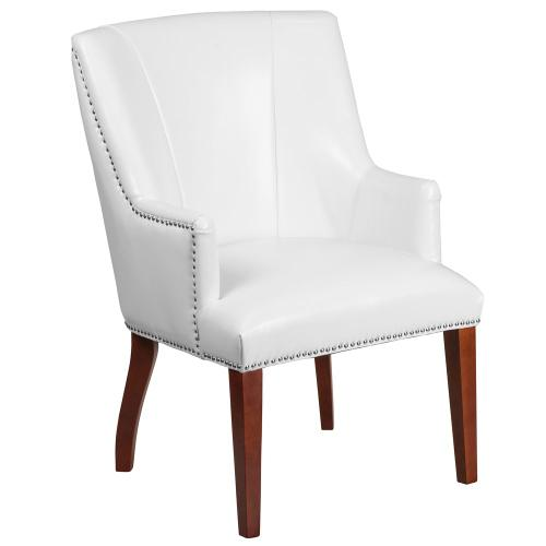 White Leather Side Reception Chair