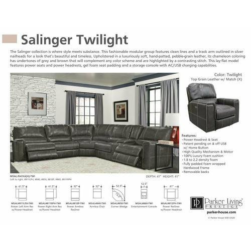 Parker House - SALINGER - TWILIGHT Power Left Arm Facing Recliner