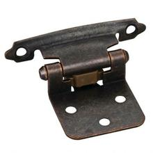 """View Product - Traditional 1/2"""" Overlay Hinge with Screws - Dark Brushed Antique Copper"""