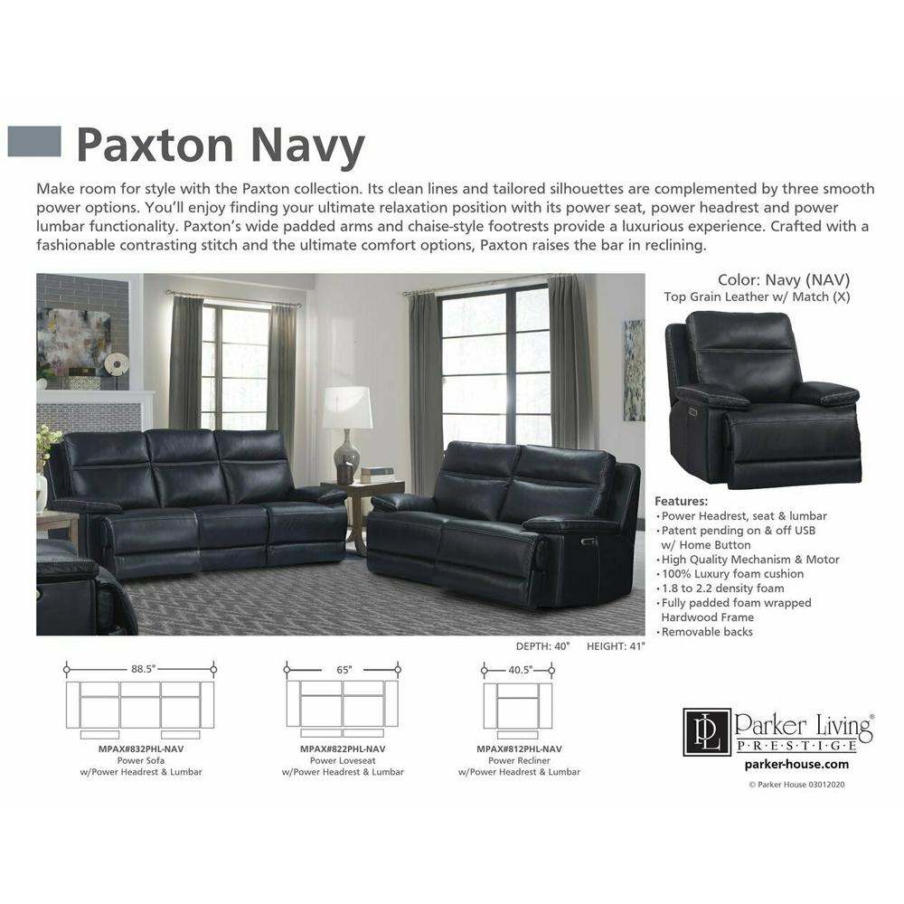 Product Image - PAXTON - NAVY Power Sofa