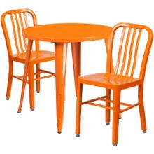 30'' Round Orange Metal Indoor-Outdoor Table Set with 2 Vertical Slat Back Chairs