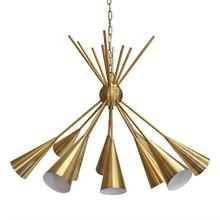Twelve Golden Flutes Cluster Brilliantly In This Stunning Chandelier - A Perfect Centerpiece for Your Dining Room or Living Area. Finished In Antique Brass With 6' of Coordinating Chain and Canopy for Your Custom Installation.