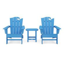 View Product - Wave 3-Piece Adirondack Set with The Ocean Chair in Pacific Blue