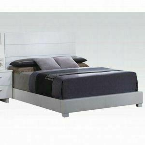 ACME Lorimar Queen Bed - 22630Q_KIT - White PU & Chrome Leg