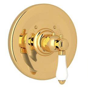 Thermostatic Trim Plate without Volume Control - Italian Brass with White Porcelain Lever Handle
