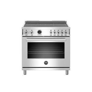Bertazzoni36 inch Induction Range, 5 Heating Zones, Electric Self-Clean Oven Stainless Steel