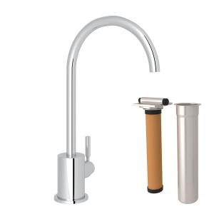 Polished Chrome Lux C-Spout Filter Faucet Kit with Modern Lux Metal Lever Product Image