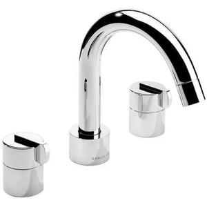 Matt Black Chrome 3 Hole widespread lavatory filler with swivel spout and pop-up waste