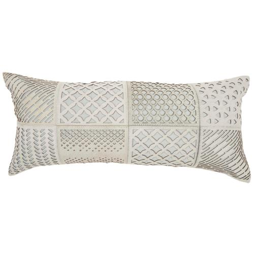 """Natural Leather Hide S2432 Celadon 14"""" X 32"""" Throw Pillow"""