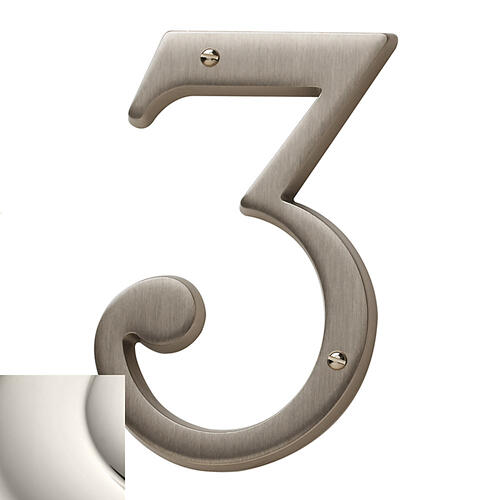 Polished Nickel House Number - 3