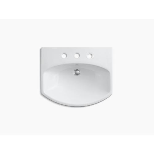 "Black Black Pedestal Bathroom Sink With 8"" Widespread Faucet Holes"