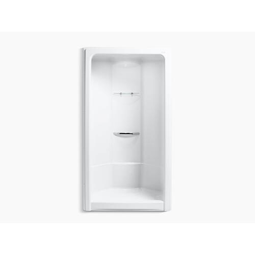"White 48"" X 36-1/2"" X 90"" Front Center Drain Corner Shower Stall With Integral High-dome Ceiling, Requires Grab Bar"