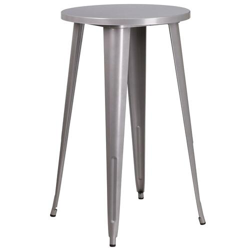 Alamont Furniture - 24'' Round Silver Metal Indoor-Outdoor Bar Height Table