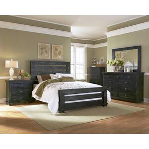 6/6 King Slat Headboard - Distressed Black Finish