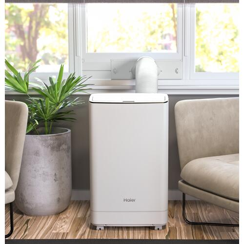 Haier - Haier® Smart Portable Air Conditioner with Dehumidifier for Large Rooms up to 550 sq. ft., 13.500 BTU (9,700 BTU SACC)