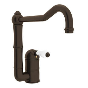 Acqui Single Hole Column Spout Kitchen Faucet - Tuscan Brass with White Porcelain Lever Handle