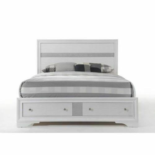 ACME Naima Eastern King Bed w/Storage - 25767EK - White