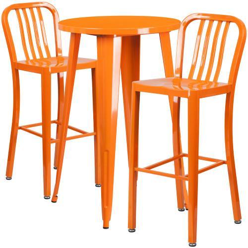 24'' Round Orange Metal Indoor-Outdoor Bar Table Set with 2 Vertical Slat Back Stools