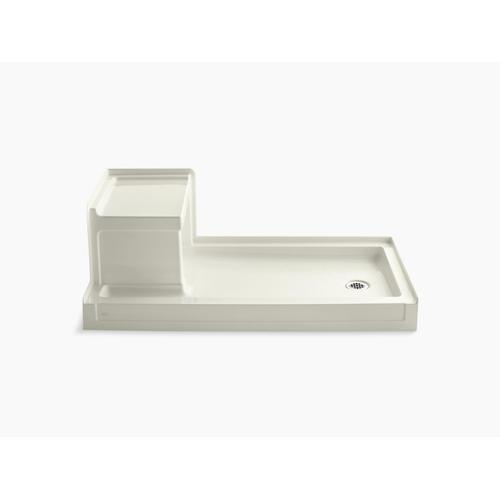 """Biscuit 60"""" X 32"""" Single Threshold Right-hand Drain Shower Base With Integral Left-hand Seat"""