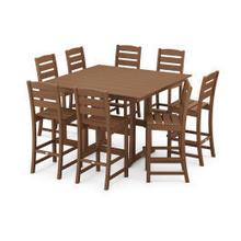 View Product - Lakeside 9-Piece Bar Side Chair Set in Teak