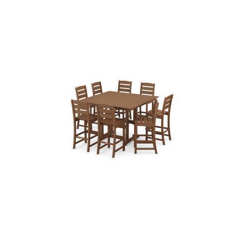 Polywood Furnishings - Lakeside 9-Piece Bar Side Chair Set in Teak