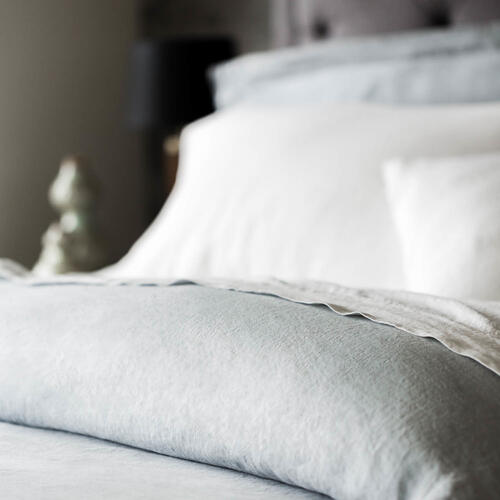 French Linen Duvet Set Queen White