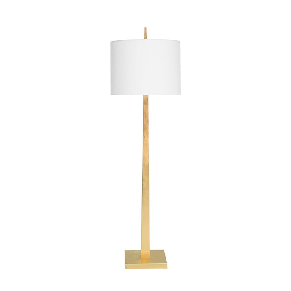 Sleek and Lustrous, Our Doyle Floor Lamp Offers A Streamlined, Tapered Silhouette That Brightens Any Room. Topped With A Crisp White Linen Shade and Hand Finished In Gleaming Gold Leaf.