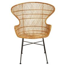 """Product Image - 25-1/2""""W x 31""""D x 39-1/2""""H Hand-Woven Wicker & Wrought Iron Chair"""