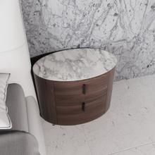 View Product - Modrest Chelton - Contemporary White Ceramic & Walnut Oval Nightstand