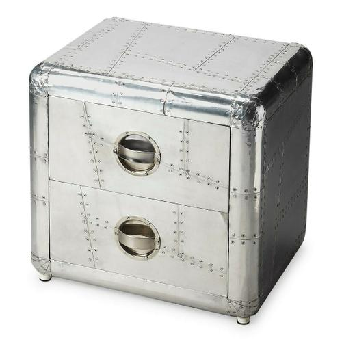Butler Specialty Company - Crafted from polished and riveting aluminum, this bold Chairside Chest provides two drawers for substantial storage. It shimmers for sure a brightest spot that absolutely will not be ignored.