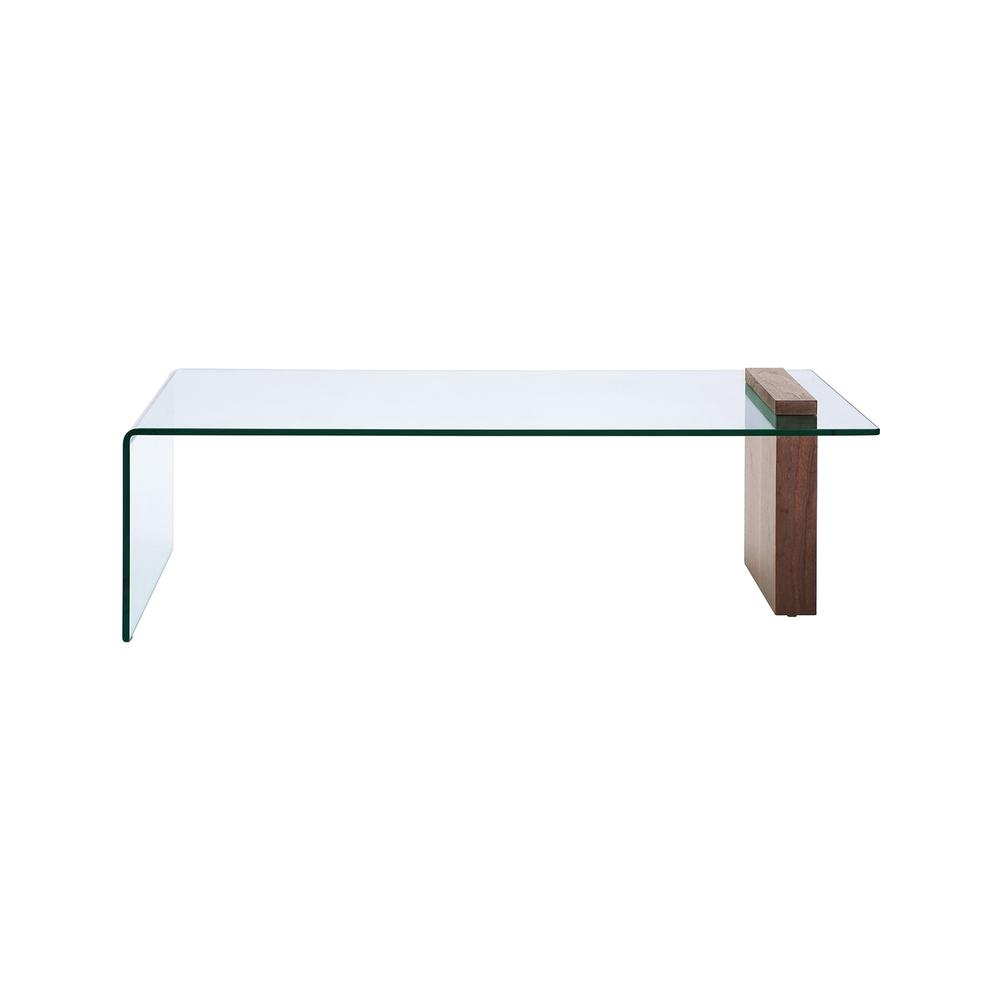 The Buono Coffee Table In Walnut Veneer With Clear Glass