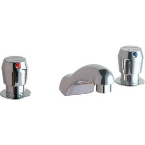 "Elkay 4"" Centerset with Concealed Deck Metered Lavatory Faucet with Cast Fixed Spout Push Button Handles Chrome Product Image"