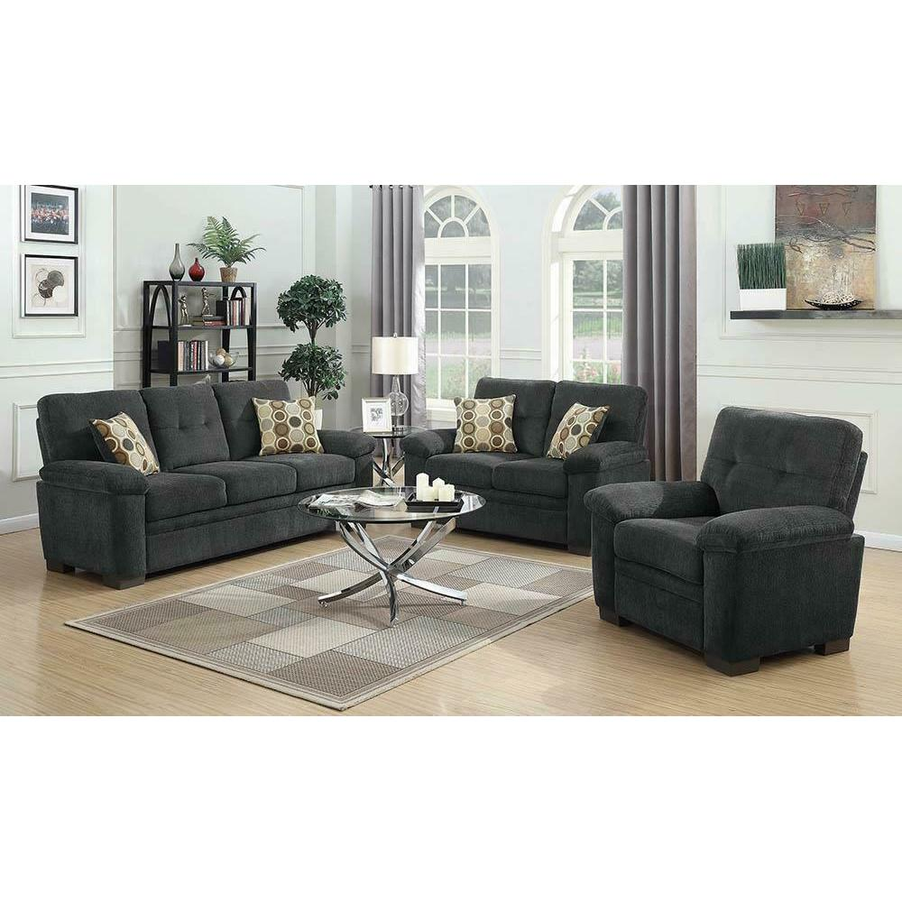 See Details - Fairbairn Casual Charcoal Three-piece Living Room Set
