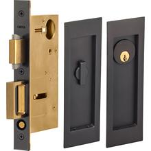 Pocket Door Lock with Modern Rectangular Trim featuring Turnpiece and Keyed Entry. in (US10B Black, Oil-Rubbed, Lacquered)
