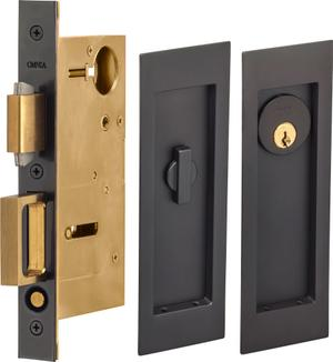 Pocket Door Lock with Modern Rectangular Trim featuring Turnpiece and Keyed Entry. in (US10B Black, Oil-Rubbed, Lacquered) Product Image