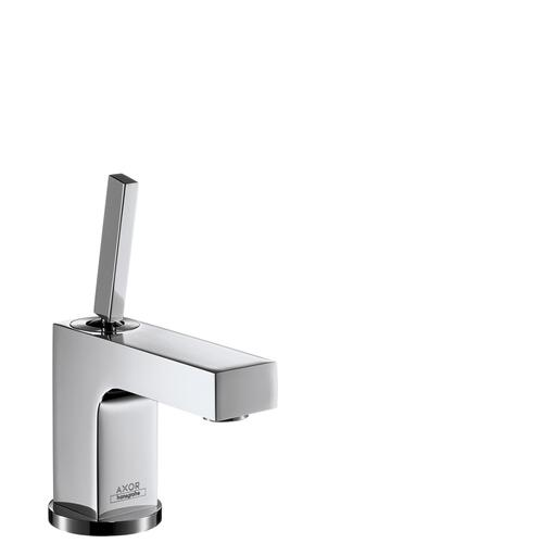 Chrome Single lever basin mixer 80 with pin handle for hand washbasins with pop-up waste set